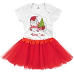 Meowy Christmas Custom Cat Holiday Baby Tutu & Onesie