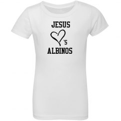 Jesus Loves Albinos- Youth T- Black and White