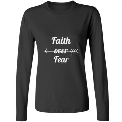 Faith Over Fear Long Sleeve Tee in Gray