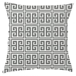 Gray And White Greek Key Pattern Pillow Cover