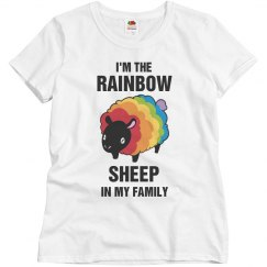 Gay Pride Rainbow Sheep In Family