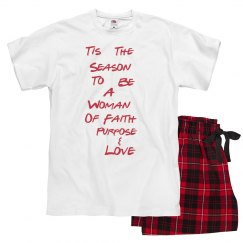 Women of Faith Christmas Pajamas-Blk,White & Red