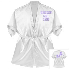 Unicorn Girl Gang Competition Robe - white satin