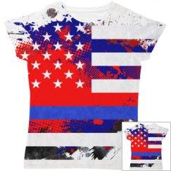 Thin Blue Line American Flag Splatter