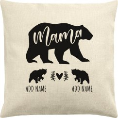 Mama Bear Of Two Kids Custom Names
