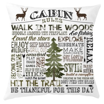 Cabin Rules Pillow Cover