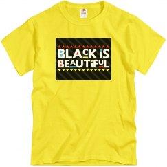 Yellow tee w/black is beautiful graphic