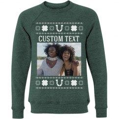 Custom Text Lucky Upload Sweater