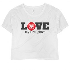 I Love My Firefighter Metallic Crop