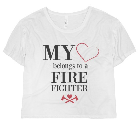34d1842b My Heart Belongs To A Firefighter Ladies Flowy Boxy Cropped T-Shirt