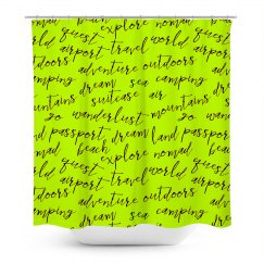 Travel words shower curtain