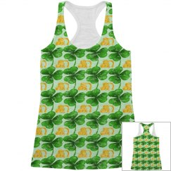 St Patrick's Day Lucky Clover, All Over print Tank Top
