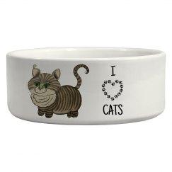 """""""I Heart Cats"""" Ceramic Pet Bowl With Nana"""