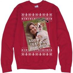 Upload Pet Photo Ugly Sweater Xmas