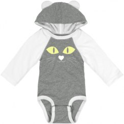 Infant Hooded Long Sleeve Raglan Bodysuit with Ears