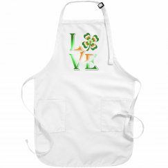 Love Ireland Clover, White Apron