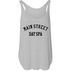 Main Street Day Spa Ladies Flowy Tank with Side Slit