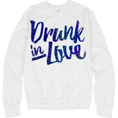 Drunk love blue glitter logo