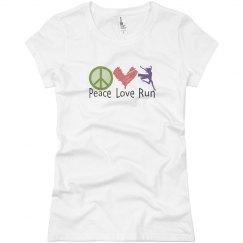 Peace love run white tee