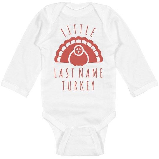 666b2231e Custom Little Turkey Family Text Infant Long Sleeve Baby Rib Bodysuit