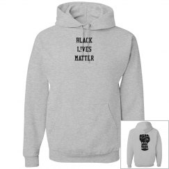 Black Lives Matter Fist Unisex Hoodie Front and Back