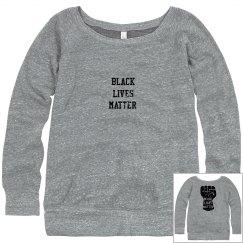 Black Lives Matter Fist Womens Sweatshirt Front & Back