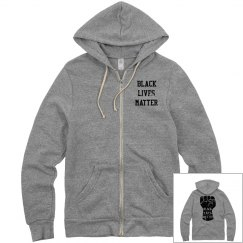 Black Lives Matter Fist Zip Hoodie Front & Back Design
