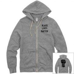 Black Lives Matter Fist Zip Hoodie Front & Back Design