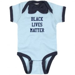 Black Lives Matter Infant Onsie Bow Tie Navy Bodysuit