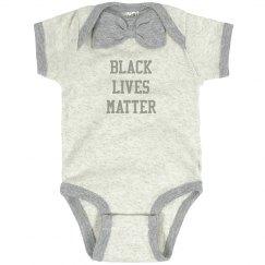 Black Lives Matter Infant Onsie Bow Tie Gray Bodysuit