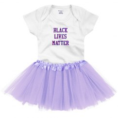 Black Lives Matter Baby Tutu Purple Glitter Text