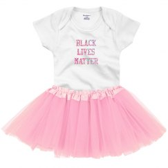 Black LIves Matter Baby Tutu Pink Glitter Text