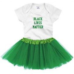 Black LIves Matter Baby Tutu Green Glitter Text