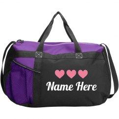 Pink Heart Dance Bag Custom Name