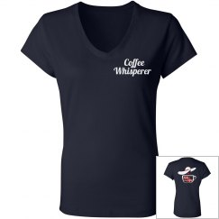 Coffee Whisperer Women's V-Neck Fitted T-Shirt