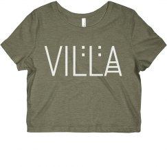 Junior Girls Villa Name Logo Cropped Tee