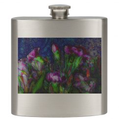 Abstract Pink Carnations Flask