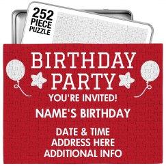 Custom Birthday Party Invitation Puzzle
