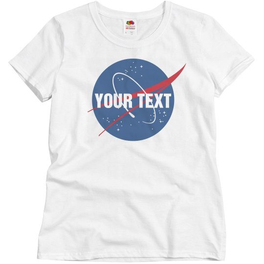 52990333544 NASA Logo With Custom Text Ladies Relaxed Fit Basic Promo T-Shirt