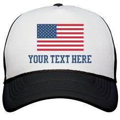 Custom Text American Flag Hat
