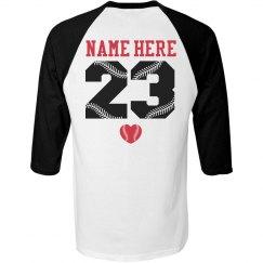 Baseball Girlfriend Tee With Custom Name and Number