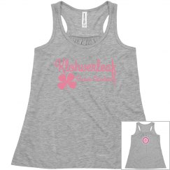 little girls grey flowy tank with pink logo on the back