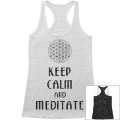 Keep Calm Meditate Flower Of Life black