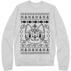 Cat Ugly Sweater Grey