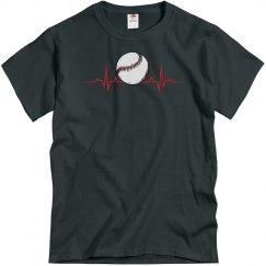 Mens Baseball Heartbeat T