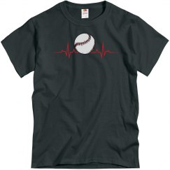Mens Baseball Heartbeat T