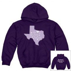 Texas My Heart Youth Hoodie