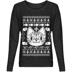 Cat Ugly Sweater White
