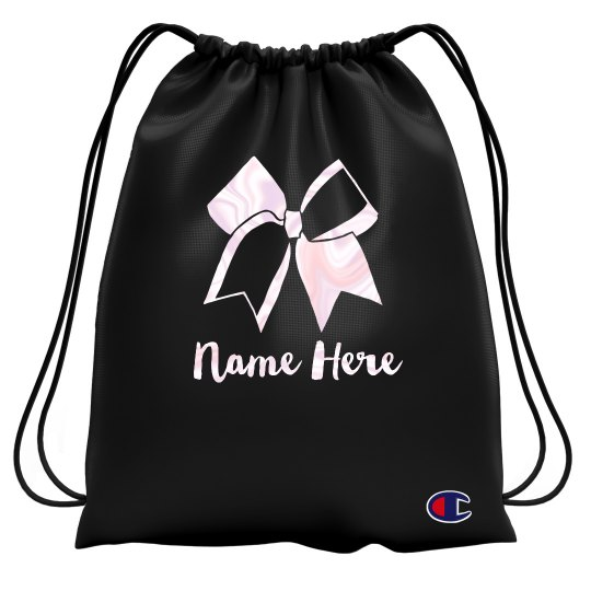 Cheer Bow Custom Drawstring Bag