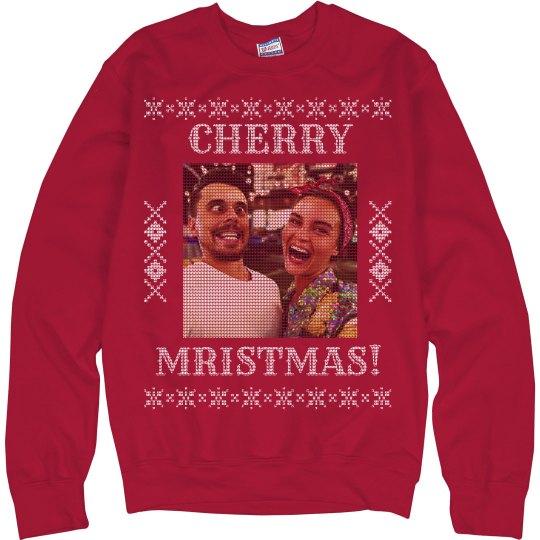 Cherry Christmas Custom Photo Ugly Sweatshirt